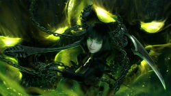 1girl black_hair black_rock_shooter chains dark_background dead_master fire glowing glowing_eyes green_eyes green_fire highres horns looking_at_viewer md5_mismatch realistic resized scythe smile solo upper_body wen_jr