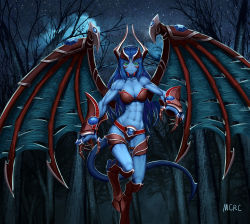1girl abs armor artist_name blue_hair blue_skin claws defense_of_the_ancients demon_girl demon_tail demon_wings dota_2 forest gauntlets gem green_eyes highres hooves horns mcrc_science monster_girl muscle muscular_female nature night night_stalker_(dota) revealing_clothes standing standing_on_one_leg star_(sky) tail torn_wings wings