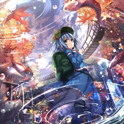 1girl album_cover architecture autumn_leaves backpack bag black_boots blue_eyes blue_hair blue_shirt blue_skirt boots bridge closed_mouth commentary_request cover east_asian_architecture falling_leaves fish frilled_skirt frills from_below hair_bobbles hair_ornament hat highres janne_cherry juliet_sleeves kawashiro_nitori koi leaf long_sleeves looking_at_viewer maple_leaf puffy_sleeves ripples rope_bridge shirt short_hair skirt skirt_set smile solo touhou two_side_up water waterfall watermill
