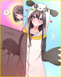 2girls animal_costume black_hair blush collarbone heart highres hood mirror multiple_girls panda_costume peeking_out sukemyon yahari_ore_no_seishun_lovecome_wa_machigatteiru. yukinoshita_haruno yukinoshita_yukino