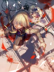 1boy blonde_hair blood blood_on_face bloody_hands broken broken_weapon capelet colored_eyelashes commentary_request fang fingernails flandre_scarlet folded_leg from_above genderswap genderswap_(ftm) hair_over_one_eye hat hat_removed headwear_removed highres laevatein long_sleeves looking_at_viewer mob_cap muin open_mouth red_eyes shadow sharp_fingernails shirt short_hair shorts striped striped_shirt teeth tile_floor tiles touhou weapon wings