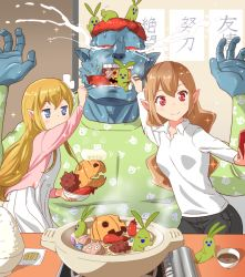 1boy 2girls blonde_hair blue_skin brown_hair cellphone chopsticks commentary_request crying crying_with_eyes_open eggplant elf feeding hotpot indoors mandragora multiple_girls mushi_gyouza onion orc original phone pointy_ears red_eyes red_hair self_shot siblings sisters tears translated