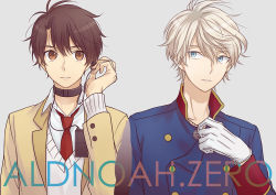 2boys akuta_michi aldnoah.zero blonde_hair brown_eyes brown_hair double-breasted gloves green_eyes image_sample jewelry kaizuka_inaho male_focus military military_uniform multiple_boys necklace necktie pixiv_sample school_uniform short_hair silver_hair slaine_troyard sweater_vest uniform white_gloves