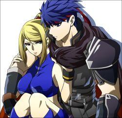 blonde_hair blue_hair cape couple fire_emblem ike kudakeru long_hair metroid midriff nintendo ponytail samus_aran short_hair super_smash_bros.