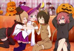 absurdres animal_ears ass cat_ears cosplay dress halloween highres tagme tail thighhighs witch yuru_yuri