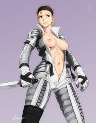 1girl blonde_hair bodysuit breasts dagger feguimel headband looking_at_viewer metal_gear_(series) metal_gear_solid_3 navel nipples no_bra open_clothes scar solo stomach the_boss weapon
