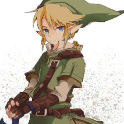 belt blonde_hair blue_eyes earrings gloves hat jewelry link male nigo nintendo pointy_ears sheath sword the_legend_of_zelda twilight_princess weapon