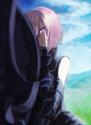 1girl absurdres armor armored_dress artist_request bangs bare_shoulders black_gloves blue_sky chromatic_aberration chromatic_aberration_abuse closed_mouth cloud cloudy_sky commentary_request day elbow_gloves expressionless eyebrows_visible_through_hair eyelashes eyes_visible_through_hair fate/grand_order fate_(series) gloves grass hair_over_one_eye head_tilt high_collar highres hill holding_shield lavender_hair outdoors purple_eyes shade shield shielder_(fate/grand_order) short_hair sky solo standing swept_bangs two-handed v_arms