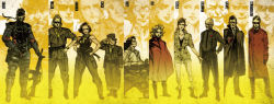4girls 6+boys amanda_valenciano_libre big_boss cecile_cosina_caminades coat coldman eyepatch gun hot_coldman huey huey_(metal_gear) huey_(metal_gear_solid) kazuhira_miller metal_gear_(series) metal_gear_solid_peace_walker multiple_boys multiple_girls naked_snake official_art paz_ortega_andrade ramon_galvez_mena shinkawa_youji strangelove suspenders weapon wheelchair