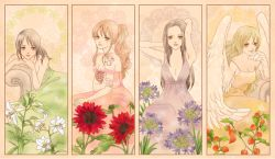 4girls allium art_nouveau black_hair boa_hancock border couch dress feathered_wings female flower formal green_dress green_hair harpy hozuki leaning lily_(flower) monet_(one_piece) multiple_girls nami_(one_piece) nico_robin off_shoulder one_piece orange_dress orange_hair pink_dress ponytail print_dress purple_dress sitting strapless sunflower tattoo tomatillo wings winter_cherry