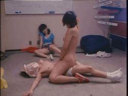 1boy 2girls animated animated_gif girl_on_top kandagawa_pervert_wars multiple_girls nude photo sex socks