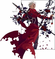 1boy archer blood blood_in_mouth fate/stay_night fate_(series) flower impaled kuroihato polearm rose solo spear sword weapon white_hair