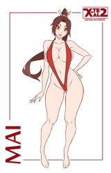 1girl areola_slip areolae barefoot breasts brown_eyes brown_hair character_name contrapposto fatal_fury female flat_color full_body gluteal_fold hand_on_hip large_breasts looking_at_viewer matching_hair/eyes navel open_mouth ponytail shiranui_mai sling_bikini solo swimsuit the_king_of_fighters watermark web_address white_background x-teal2