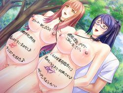 2girls areolae arms_behind_back blue_hair blush body_writing breasts brown_hair censored collar exhibitionism forest game_cg highres huge_breasts kyonyuu_hitozuma_shimai_wa_nakadashi_niku_benki:_kotowari_no_wakai_kyokon_ni_soku_ochi_yokorobi_de_netori_haramase_onedari legs long_hair looking_away miel mosaic_censoring multiple_girls navel nipples nude piercing ponytail pregnant pussy red_eyes slave smile standing sweat tattoo thighs trees yellow_eyes