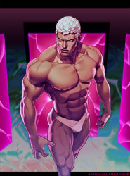 1boy abs chad_walker commentary curly_hair dark_skin forehead_jewel lips male_swimwear muscle shirtless short_hair sideburns solo street_fighter street_fighter_iii swimwear thick_thighs thighs thong urien white_hair