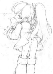 1girl against_wall ass boots dress female from_behind haga_yui hair_ornament hair_ribbon loli long_hair looking_back monochrome no_panties open_mouth ponytail pussy ribbon rockman rockman_(classic) roll short_dress simple_background solo sweat uncensored white_background