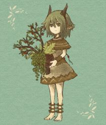 androgynous anklet aqua_background barefoot flower_ornament green_eyes green_hair holding horn_ornament horns jewelry original pixiv_fantasia plant pointy_ears poncho satsumai simple_background sketch skirt skirt_set solo tree wrist_cuffs