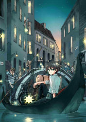 6+boys 6+girls arm_support black_hair blonde_hair blurry boat bridge brown_hair child city crossed_arms dusk eyes_closed gondola green_eyes ground_vehicle hat hermes highres kino kino_no_tabi lantern long_hair looking_back mare_(pixiv) mother_and_daughter motor_vehicle motorcycle multiple_boys multiple_girls old_man plant pouch railing river running scenery sign sitting smile star star_(sky) suspenders vines water watercraft waving window