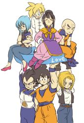 3girls 5boys android_18 annoyed aqua_eyes armor arms_behind_back baby bald belt black_eyes black_hair black_shirt black_shoes blonde_hair blue_eyes blue_hair boots bulma chi-chi_(dragon_ball) child chinese_clothes couple dougi dragon_ball dragonball_z earrings eyebrows_visible_through_hair eyes_closed father_and_son frown gloves hand_on_own_face hands_on_hips happy highres jewelry kuririn looking_at_another looking_at_viewer looking_away looking_down mother_and_son multiple_boys multiple_girls necklace open_mouth outstretched_arms outstretched_hand pants pearl_necklace serious shirt shoes short_hair simple_background sitting smile son_gohan son_gokuu spiked_hair standing super_saiyan sweatdrop text tied_hair tkgsize trunks_(dragon_ball) vegeta waistcoat white_background white_shirt wristband