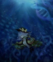 1girl bow dna eyes_closed female hat hat_bow komeiji_koishi long_sleeves manasseh short_hair silver_hair solo third_eye touhou underwater wide_sleeves