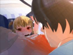 1boy 1girl 3d animated animated_gif bed blonde_hair blush breasts censored cunnilingus hair_ornament kakuno licking loli nipples oral original pussy red_eyes sex small_breasts spread_legs spread_pussy tail tattoo thighhighs thighs