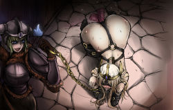 2girls all_fours animal_ears ashe_(league_of_legends) bdsm blindfold blonde_hair bondage chains femdom gag gagged harness human_dog league_of_legends leash long_hair multiple_girls pet_play ring_gag sejuani tongue tongue_out vibrator