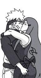 1boy 1girl ass_grab blush couple eyes_closed hairclip hand_on_another's_ass hetero hug incest kiss monochrome naruto simple_background uzumaki_kushina uzumaki_naruto very_long_hair