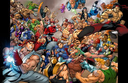 5girls 6+boys 90s abs balrog baraka black_hair blanka blonde_hair blue_eyes breasts cammy_white chun-li cleavage crossover dark_skin dee_jay dhalsim edmond_honda elbow_pads epic fei_long fighting fingerless_gloves fire flag gloves goro_(mortal_kombat) gouki guile hadouken jackson_briggs jewelry johnny_cage kano_(mortal_kombat) ken_masters kitana kung_lao large_breasts lipstick liu_kang m_bison makeup mileena mortal_kombat multiple_boys multiple_girls navel necklace nightwolf raiden reptile_(mortal_kombat) ryuu_(street_fighter) sagat scorpion_(mortal_kombat) shao_kahn shirtless sonya_blade street_fighter sub-zero sunglasses t_hawk tattoo toned vega weapon wrist_wraps zangief