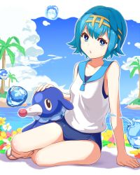 1girl absurdres bangs blue_eyes blue_hair blue_sky blue_swimsuit blush breasts cloud cloudy_sky day eyebrows_visible_through_hair hairband highres looking_at_viewer maeshimashi ocean open_mouth outdoors palm_tree pokemon popplio sandals school_swimsuit school_uniform serafuku short_hair sitting sky small_breasts solo suiren_(pokemon) swimsuit swimsuit_under_clothes thighs tree water_drop white_flower yellow_flower yokozuwari