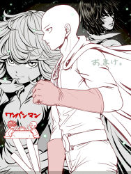 2boys 2girls bald black_dress cape chibi curly_hair dress eyelashes fubuki_(one-punch_man) genos hagawa_r kotatsu monochrome multiple_boys multiple_girls one-punch_man saitama_(one-punch_man) siblings sisters table tatsumaki translation_request