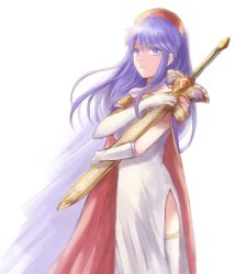 1girl blue_eyes blue_hair cape dress fire_emblem fire_emblem:_fuuin_no_tsurugi hat holding holding_weapon lilina looking_at_viewer sheath simple_background solo sword thighhighs weapon white_hair