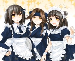 3girls :d alternate_costume antenna_hair apron black_hair blue_necktie blue_ribbon breasts brown_hair double_bun enmaided flying_sweatdrops frills hachimaki hair_intakes hair_ornament hair_ribbon half_updo hand_on_hip headband japanese_clothes jintsuu_(kantai_collection) kantai_collection kimono long_hair long_sleeves looking_at_viewer maid maid_headdress multiple_girls nagihashi_koko naka_(kantai_collection) necktie open_mouth puffy_long_sleeves puffy_short_sleeves puffy_sleeves ribbon sendai_(kantai_collection) short_sleeves small_breasts smile sparkle sparkle_background tray twitter_username two_side_up wa_maid waist_apron wide_sleeves wrist_cuffs yellow_eyes yukata
