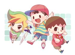 3boys :3 backpack bag black_eyes blonde_hair brown_eyes brown_hair doubutsu_no_mori hat kohori link mother_(game) mother_2 multiple_boys ness nintendo open_mouth payot pointy_ears shield short_hair shorts simple_background slingshot smile solid_oval_eyes super_smash_bros. sword the_legend_of_zelda tongue tongue_out toon_link tunic villager_(doubutsu_no_mori) weapon wind_waker