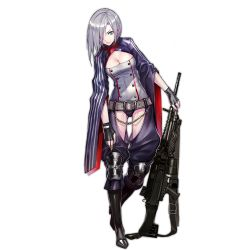 1girl belt black_boots black_gloves boots bowing breasts buckle buttons chains chaps cleavage cleavage_cutout eyebrows fingerless_gloves full_body girls_frontline gloves green_eyes grey_hair gun hair_between_eyes hair_over_one_eye head_tilt holding holding_gun holding_weapon impossible_clothes impossible_leotard infukun iron_cross knee_boots knee_pads large_breasts leotard lips looking_at_viewer machine_gun mg5 mg5_(girls_frontline) official_art one_eye_closed short_hair solo standing strap striped transparent_background weapon