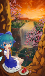 3girls absurdres akanbe black_dress black_hair blonde_hair blue_dress blue_eyes blue_hair blurry bow bridge cherry_blossoms cirno cliff cloud collared_shirt depth_of_field dress fishing fla food forest from_above fruit hair_bow hakurei_reimu hakurei_shrine hat highres ice ice_wings kirisame_marisa looking_at_viewer looking_back mountain multiple_girls nature orange_sky petals plate red_skirt reflection ribbon river salt salt_shaker shirt silhouette sitting sketch skirt sleeveless sleeveless_dress stairs stream sunset tongue tongue_out torii touhou tree water waterfall watermelon white_shirt wings witch_hat