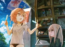 2girls ahoge alternate_costume amoranorem blonde_hair brown_eyes brown_hair food hair_ornament i-58_(kantai_collection) ice_cream kantai_collection long_hair military military_uniform multiple_girls open_mouth outdoors short_hair short_sleeves swimsuit swimsuit_under_clothes u-511_(kantai_collection) uniform