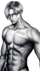 1boy abs greyscale leon_s_kennedy male_focus manly mayu_(mt_x_my) monochrome muscle navel nude resident_evil solo upper_body veins