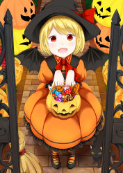 1girl :d absurdres bangs black_cat black_legwear blonde_hair blush broom brown_eyes candy cat demon_wings dress eyebrows eyebrows_visible_through_hair fang from_above gate halloween hat head_tilt highres holding jack-o'-lantern lollipop looking_up mary_janes neck_ribbon open_mouth orange_dress original pigeon-toed puffy_short_sleeves puffy_sleeves red_ribbon ribbon shoes short_sleeves smile solo standing striped striped_legwear swept_bangs swirl_lollipop tsunamayo_(flying_cat) wing_collar wings witch witch_hat wrapped_candy