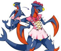 drawfag garchomp highres magical_girl no_humans pink_skirt pokemon pokemon_(creature) skirt transformation yellow_eyes