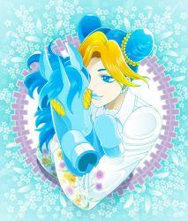 1girl blonde_hair blue_eyes blue_hair blue_lipstick braid double_bun floral_background floral_print jojo_no_kimyou_na_bouken kuujou_jolyne lipstick makeup multicolored_hair smile solo tazbun two-tone_hair unicorn upper_body