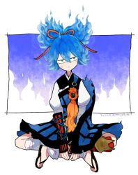1boy blue_hair dated indian_style japanese_clothes l_hakase looking_at_viewer male_focus no_socks sandals sayo_samonji sitting solo touken_ranbu twitter_username