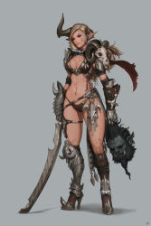 1girl absurdres armor bikini_armor blonde_hair boots breasts broken broken_sword broken_weapon cleavage dae_jun_park dirty ear_piercing facial_tattoo full_body gauntlets high_heel_boots high_heels highres holding_head horn large_breasts lips long_hair looking_at_viewer nipple_piercing original piercing pointy_ears ram_skull red_eyes severed_head skull solo_focus spiked standing stomach sword tattoo thigh_strap warrior weapon
