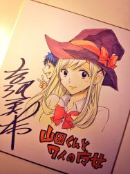 1boy 1girl black_eyes black_hair blonde_hair bow bowtie cardigan commentary_request copyright_name grin hair_ribbon hat hat_bow long_hair looking_at_viewer photo profile ribbon school_uniform shikishi shiraishi_urara signature smile solo_focus traditional_media upper_body v witch_hat yamada-kun_to_7-nin_no_majo yamada_ryuu yoshikawa_miki