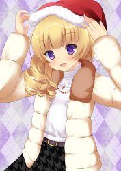 1girl battle_girl_high_school blonde_hair hat purple_eyes santa_hat sendoin_kaede yuririn_poi