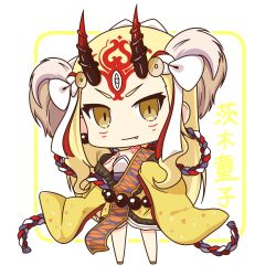1girl blonde_hair busoushinkimms chibi fang fang_out fate/grand_order fate_(series) hair_ornament highres horns ibaraki_douji_(fate/grand_order) japanese_clothes kimono long_hair looking_at_viewer oni smile solo yellow_eyes