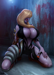 barretxiii blonde_hair blood bodysuit breasts capcom cleavage corruption hair_over_eyes huge_breasts monster monster_girl mutation ooze_(resident_evil) open_clothes rachael_foley resident_evil resident_evil_revelations scuba_suit torn_clothes