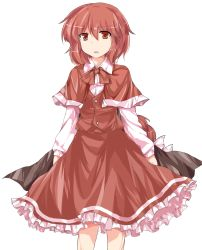 1girl :o cape capelet cowboy_shot frilled_skirt frills highres jubctybn long_sleeves okazaki_yumemi open_mouth ponytail red_eyes red_hair ribbon short_hair simple_background skirt skirt_set solo standing touhou touhou_(pc-98) vest white_background