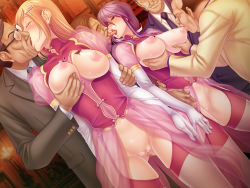2girls areolae bald black_lilith blonde_hair blue_eyes blush breast_grab breast_sucking breasts breasts_outside censored earrings elbow_gloves eyepatch fat_man female fingering game_cg garter_belt glasses gloves group_sex hair_ornament hairclip hetero jewelry kagami_hirotaka kiss large_breasts legs licking lilith-soft long_hair multiple_boys multiple_girls necktie nipple_teasing nipple_tweak nipples no_bra no_panties old onmyou_kishi_towako orgy purple_hair pussy saliva smile standing sweat tattoo thighhighs thighs tongue tongue_out ugly_man wet wrinkles yellow_eyes zol