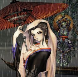 breasts copyright_request frog nipples oriental_umbrella shirou_masamune umbrella