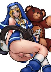 1boy 2n5 arm_support ass blonde_hair bottomless bridget_(guilty_gear) censored commentary crossdressing cuffs erection fingerless_gloves gloves green_eyes guilty_gear habit handcuffs heart heart_censor highres lips mars_symbol nun penis ribbon roger simple_background smile solo stuffed_animal stuffed_toy sweat teddy_bear testicles trap white_background